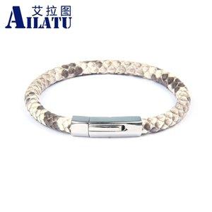 Ailatu Neue Luxus-6mm Original Python-Schlangen-Haut-Leder-Wölbungs-Armbänder Edelstahlschmuck Y200810