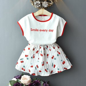 Designer Popular Korean Newest Fashion O-neck Toddler Girls Clothes Letter Print Top Cherry Print Skirt 2Pcs Outfits Hot Sale