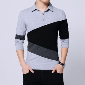 Mens T Shirts Fashion Contrast Color Patchwork Long Sleeve Slim Fit Cotton Collar T Shirt Male Clothing 2020 Plus Size 4XL 5XL 0921