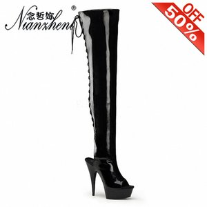 6INCH أحذية عالية الكعب الأزياء الحجم الكبير 12 طويل أحذية 15cm ورقيقة كعب منصة زقزقة اصبع القدم الخبز الطلاء ربط الحذاء حتى المرحلة التي تظهر فيها