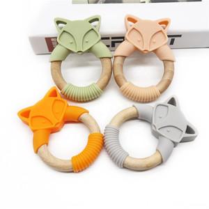 2020 Fda Food Grade Bpa libero all'ingrosso Teether Silicone Legno Nuovo prodotto Circle Fox a forma Sylicone Organic Baby dentizione Teether anello Giocattoli