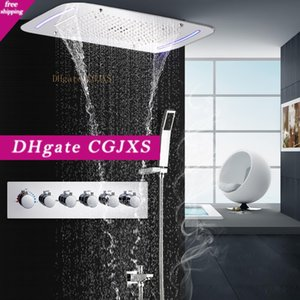 5 Funções Reccessed chuvas Cachoeira Mistfall Led teto da cabeça de chuveiro termostática Shower Set Wall Mounted Spa Duche de Massagem