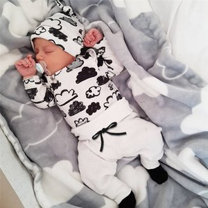 Boy Clothes Fashion Cotton Long-sleeved Letter T-shirt+pants Newborn Baby girl Clothing Set de26