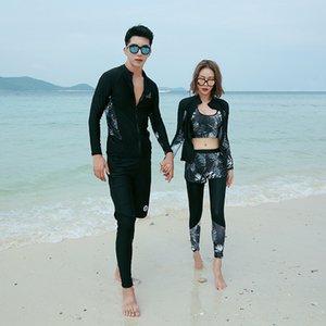 8DJe7 Nueva manga larga cremallera protector solar de buceo Buceo pantalones par de pantalones de traje traje de baño estilo coreano traje de baño partido de secado rápido