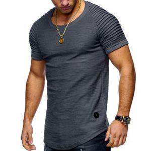 Foreign trade new pleated Raglan slub solid color men's Short Sleeve T-Shirt