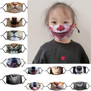 Смешные животные Рот маски для лица Дети Взрослые 3D Печати маски пыле Anti-UV Регулируемого Face Mask моющихся Защитных масок с фильтром