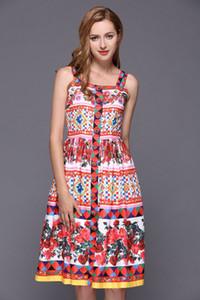 2020 Простых Элегантных женщин летнего платья Single Брэстед Cottom Rayon Silk Blending Sexy подтяка печать платье