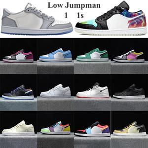 2020 Jumpman 1 1s baixos tênis de basquete cinza vela preta vela Homens Mulheres desporto Trainers Paris pinheiros Sneakers abeto verde aura com keychain