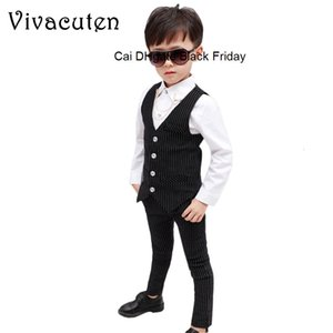 Flower Boys Suit for Weddings Prom Birthday Party Clothes Children Slim Fit Suit Sets Kids Tuxedo Formal Vest Pants 2Pcs Costume