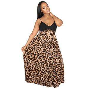Dropshipping Frauen Leopard und gestreiftes Patchwork-Kleid Sexy Spaghetti-Bügel-lange Kleid Sommer Vestidos De Verano