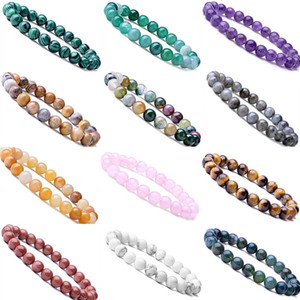 8MM Women Men Designer Bracelets Luxury Natural Stone Healing Crystal Stretch Beaded Bracelet Precious Gemstone Round Bracelets Jewelry