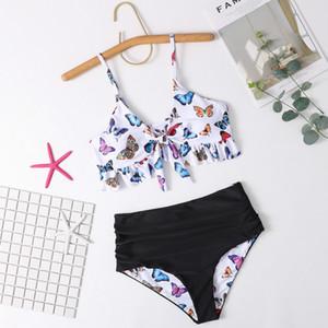20ss Fashion Women's Swimwear Summer New Sexy Bikini Swimsuit Double-sided Sling Butterfly Print Split Bikini Swimsuit Size S-XL