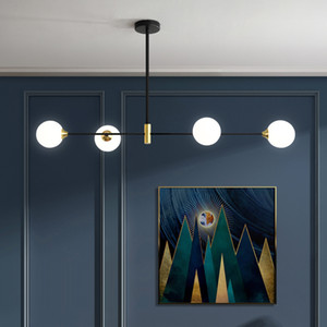2020 Nordic Yemek Odası Avize Aydınlatma Modern Cam Topu Avize Lambası İçin Mutfak / Yemek Odası Vintage Haing Işık Armatür