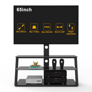 US Stock Black TV Stands Adjustable Monitor Stand Riser Tempered Glass TV Table Shelf Living Room Furniture
