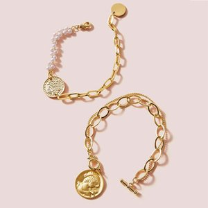 New Style Charming Alloy Coin Simulated-pearls Bracelet For Women Vintage Carving Head Bracelet Simple Chains Jewelry