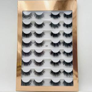 gros 16pair naturels 3D cils slik livres / faux vison cils / faux cils avec eyelashe boîte d'emballage