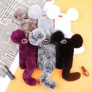 cgjxs mouse 3D Pele Capa Para Iphone Xr Xs Max X 8 7 6s 6 Tampa pêlo macio Soft Cover Tpu coelho Genuine Plush cabelo cauda bonito Lovely Fashion L