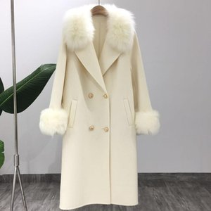 LaVelache 새로운 캐시미어 코트 울 블렌드 긴 리얼 모피 코트 겨울 자켓 여성 천연 여우 모피 칼라 자켓 스트리트 T200814