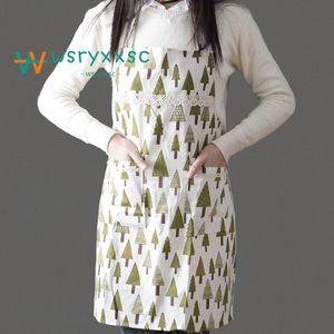 Küche Standard-Anti Fouling Oilproofed Baumwolle Schürze Niedliche Cartoon Erwachsener Ärmel Bid Großhandel Küchenreinigung Kochen Werkzeuge J2is #