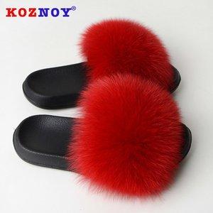 Kadın Moda Kapalı Sandalet Platform için Koznoy Kadınlar Gerçek Kürk Terlik Yaz Ayakkabı Düz Tabanlı Kürklü Slaytlar Kabarık
