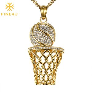 FINE4U N633 Gold Color Rhinestone Basketball Necklace Punk Basketball Box Pendant Necklace Sports Jewelry for Men Boy