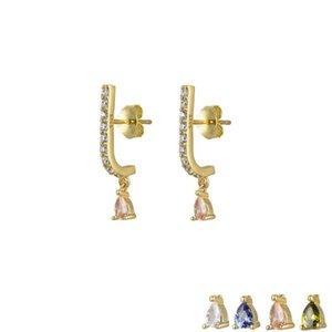 الذهب والفضة خط القرط قطرة الشمبانيا الفاخرة كليب Pendiente ثقب CZ الزركون فاخرة للنساء مجوهرات