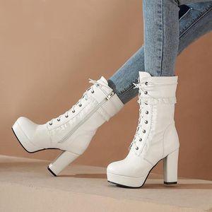 White Boots Cos Shoes Lacing Boots Female Platform Thick Heel Plus Size High-Leg Women Shoes