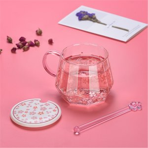 Diamond Cherry Blossom Pattern Glass Cup Pink Cute Female Muddler Cover Handle Coffee Cup INS Net Red
