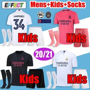 New Real Madrid Jerseys 2020 2021 Trikot 20 21 Fußballtrikots GEFAHR SERGIO RAMOS VINICIUS ISCO MODRIC Camiseta Herren Kids Kit Fußballhemden Socken