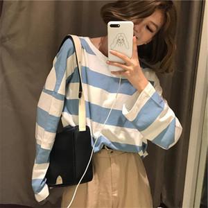 Harajuku Striped Shirt Streetwear Women Clothes 2020 Korean Style Summer Vogue Camisa Mujer Fall Tee Shirt Femme Plus Size