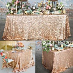 Bakır / Pembe Gül Altın Pullu Tablecloth Glitter Yuvarlak Dikdörtgen İşlemeli Masa Örtüsü için Düğün Noel Dekorasyon
