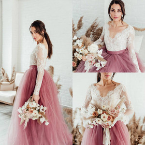 New Bohemian Hot Pink Wedding Dresses with Long Sleeve Lace Tutu Long Sleeve Gothic Country Wedding Gown Beach Bridal Gowns