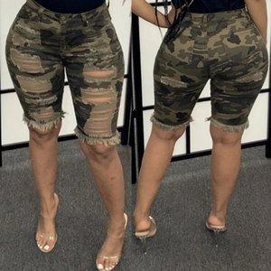 Womens pantalones vaqueros rasgados camuflaje pantalones vaqueros atractivos de las mujeres de la alta cintura del dril de algodón Casual Short Jeans camuflaje cortocircuitos rectos