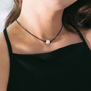 Simple Wax String Imitation Pearl Pendant Choker Necklace for Women Vintage Geometric Clavicle Necklace Pendant Jewelry Gift