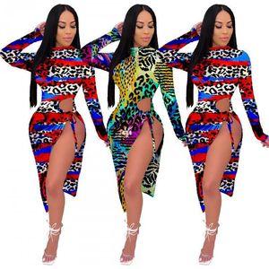 vestidos de diseñador mujeres dividida atractivo vestido estampado de manga larga falda de un conjunto mitad de la pieza de la pantorrilla de la ropa informal de los vestidos de las mujeres ropa klw4746