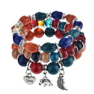 3Pcs Set Fashion Boho Bracelets Women Semi Precious Stone Beaded Bracelet For Women Wing Heart Elephant Pendant Bracelet Gift
