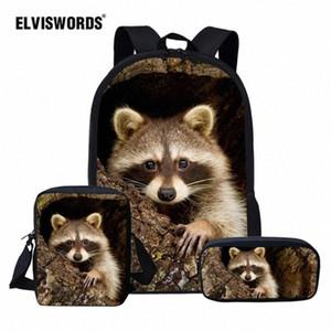 ELVISWORDS Cute Raccoon School Bag Set For Girl Boys Kids Backpacks Childrens Travel Bag Teen Student Book Mochila Escolar RnCj#