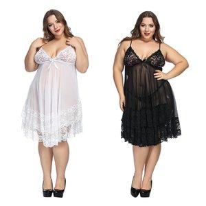 Плюс размер 6XL белье пижама Белая ночь платье женское белье дамы сексуальные кружева Babydolls пижамы женские эротические строп Homewear