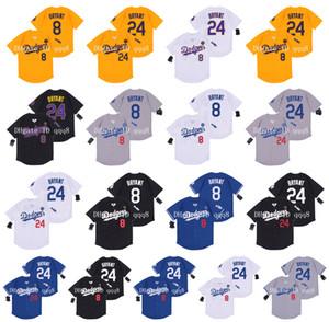 Qualidade máxima ! LA Mens # 8 # 24 Bryant Jersey Los Angeles Amarelo Branco Cinza Preto 100% costurado Baseball Jersey