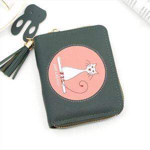 Women Cute Cat Wallet Small Zipper Girl Wallet Pu Leather Women Outdoor Purse Female Card Holder Wallet Billetera T1P