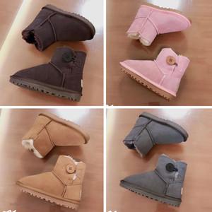 UGG boots Meninas botas de cano alto de cristal Meias Botas Mid Botas diamante Outono-Inverno Genuine sapatos de couro crianças pequenas suave inferior Princesa Shoes XXP1