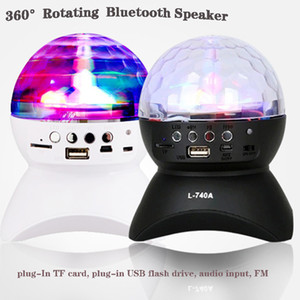 Mini LED Bluetooth Speaker Wireless Bluetooth Square Dance Audio Crystal Colorful Light 360 Rotating Stage Lamp USB Interface TF