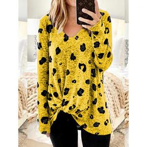 Leopard Printed V шеи длинный рукав Плюс Размер Женской одежды Dropshipping Осени Womens Deisnger Tshirt завернутого
