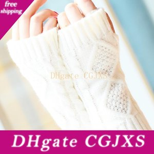 Mode hiver court bras Mitaines solide 20cm chaud tricot printemps laine Mitten Gants Tricot D18110806