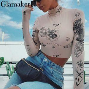 Glamaker Renaissance court vintage imprimé blouse femmes base de mode manches longues brassière mince Party Club streetwear blouse de sexy