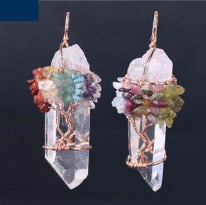 Homens Big Gemstone Pendant Mulheres Natural Crystal White Quartz 7 Chakra Árvore da Vida Rosa de Ouro Handmade fio enrolado encantos da colar