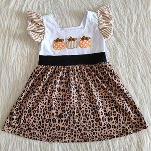 las nuevas muchachas del bebé del diseño del bordado vestidos Niñas niños tienda de diseño vestidos lindos de Halloween niñas calabaza bebé del niño vestido caliente
