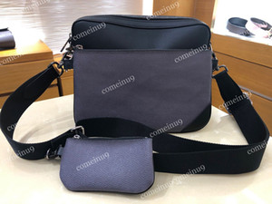 Großhandel Mode Männer Pochette Trio Messenger Bag Schwarz / Grau 3 Stück Set Herren Reverse Canvas Riemen Crossbody Bag 69443 W Kleine Münzbörse