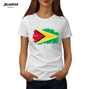 Guyana Bayrağı Tişörtlü Kadınlar Moda Kısa Kollu% 100 Pamuk Baskılı T-shirt Komik Guyana Ulusal Bayrak Kadınlar Tees