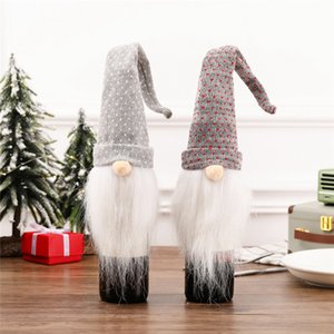 Рождество бутылки вина Обложки Long Hat Плюшевая Gnome бутылка вина Cap Топпер отдых Обеденного стол украшение JK2008XB
